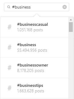 Dropdown menu of Instagram business hashtags